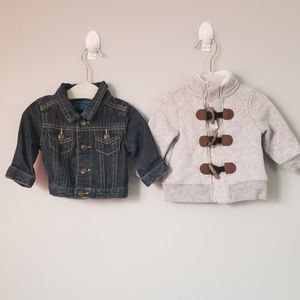 2 x 10 baby jacket gray/ jeans  size 0-3M